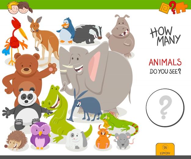 Jogo educativo de contagem para crianças com animais