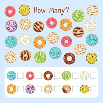 Jogo educativo de contagem para crianças com donuts Vetor grátis