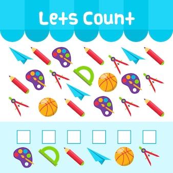 Jogo educativo de contagem para crianças com elementos escolares