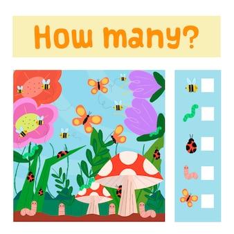 Jogo educativo de contagem para crianças com insetos.