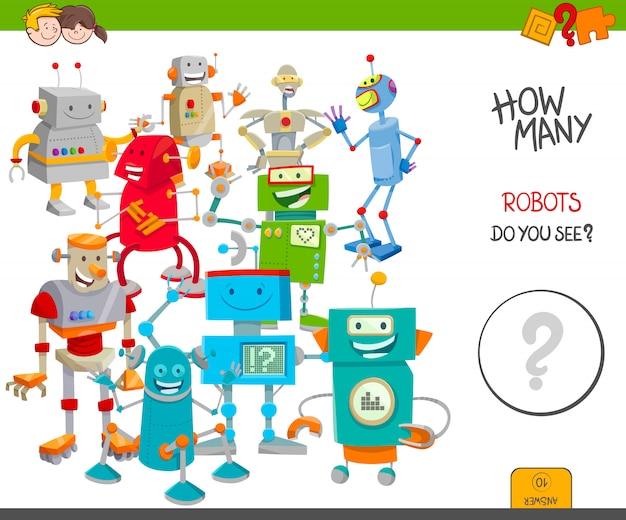 Jogo educativo de contagem para crianças com robôs