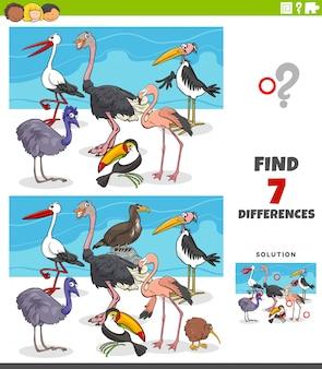Jogo educativo de diferenças com animais de aves