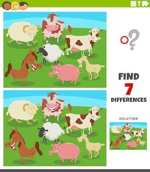 Jogo educativo de diferenças com animais de fazenda em quadrinhos