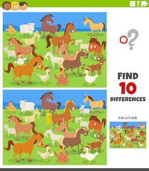 Jogo educativo de diferenças com animais de fazenda