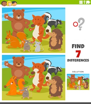 Jogo educativo de diferenças com animais selvagens