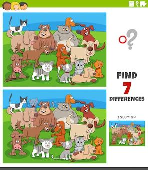 Jogo educativo de diferenças com cães e gatos em quadrinhos