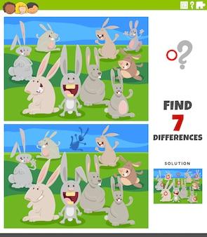Jogo educativo de diferenças com coelhos dos desenhos animados