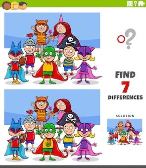 Jogo educativo de diferenças com crianças na festa à fantasia
