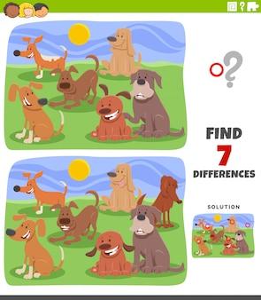 Jogo educativo de diferenças com grupo de cães