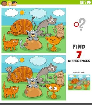 Jogo educativo de diferenças com grupo de gatos