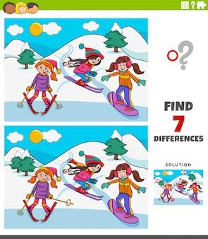Jogo educativo de diferenças com meninas de esqui