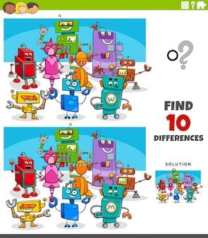 Jogo educativo de diferenças com personagens de robôs