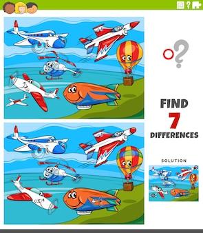 Jogo educativo de diferenças para crianças com aviões e máquinas voadoras