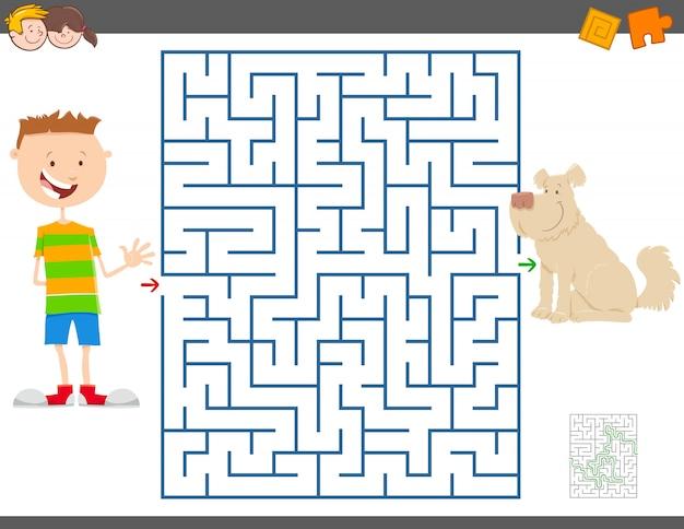 Jogo educativo de labirinto com menino e seu cachorro