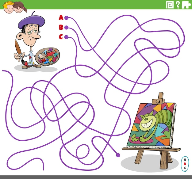 Jogo educativo de labirinto com pintor de desenho animado e sua pintura