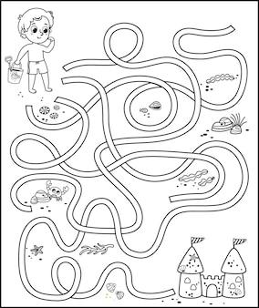 Jogo educativo de labirinto em preto e branco para crianças em tema de praia. ilustração vetorial