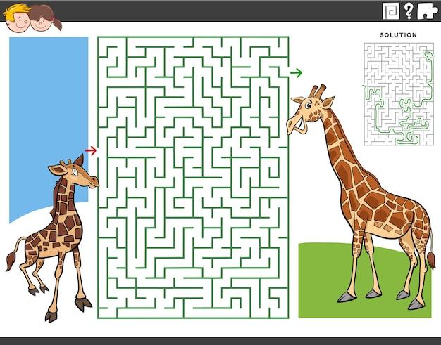 Jogo educativo de labirinto para crianças com desenhos animados de girafa bebê e mãe