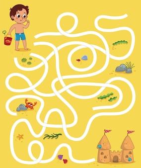 Jogo educativo de labirinto para crianças com tema de praia.