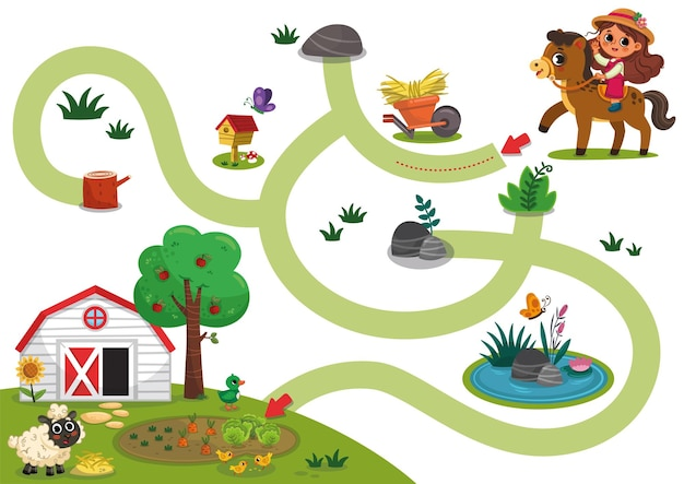 Jogo educativo de labirinto para crianças em idade pré-escolar com o tema fazenda ilustração em vetor de desenhos animados