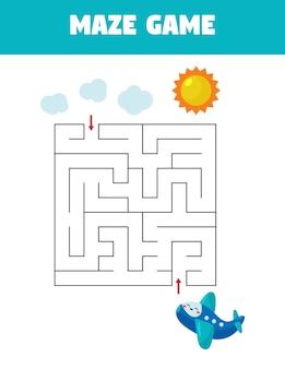 Jogo educativo de labirinto para crianças pré-escolares. ajude o avião a voar para o céu.