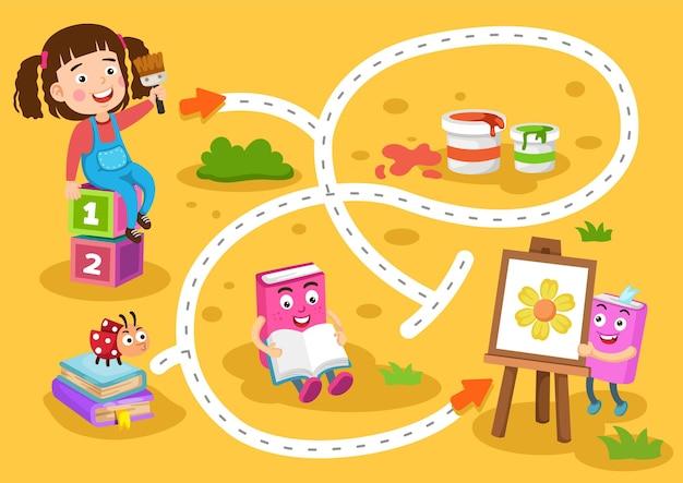 Jogo educativo de labirinto para ilustração infantil