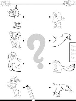Jogo educativo de metades combinando com animais livro de cor