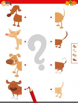 Jogo educativo de metades correspondentes de cães