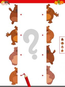 Jogo educativo de metades correspondentes de ursos