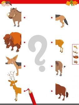 Jogo educativo de metades de animais correspondentes