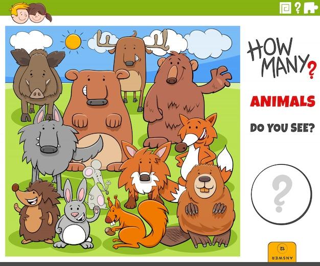 Jogo educativo de quantos animais para crianças