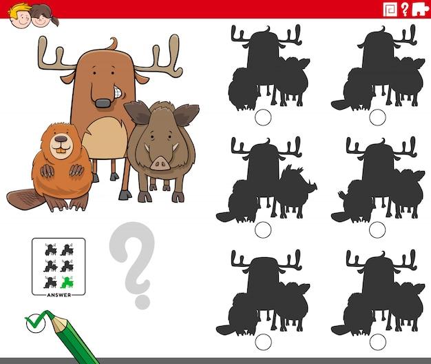Jogo educativo de sombras com personagens de animais