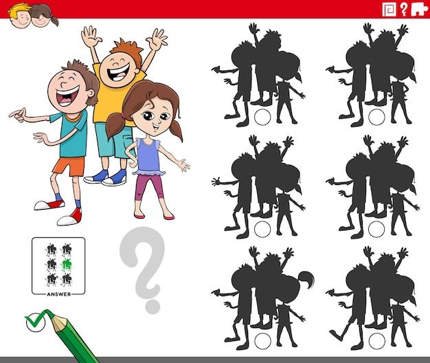 Jogo educativo de sombras com personagens infantis