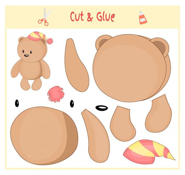 Jogo educativo em papel para o desenvolvimento de crianças pré-escolares. corte partes da imagem e cole no papel. ilustração vetorial use uma tesoura e cola para criar o aplique. urso no chapéu. peluche