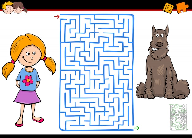 Jogo educativo labirinto para crianças com menina e cachorro