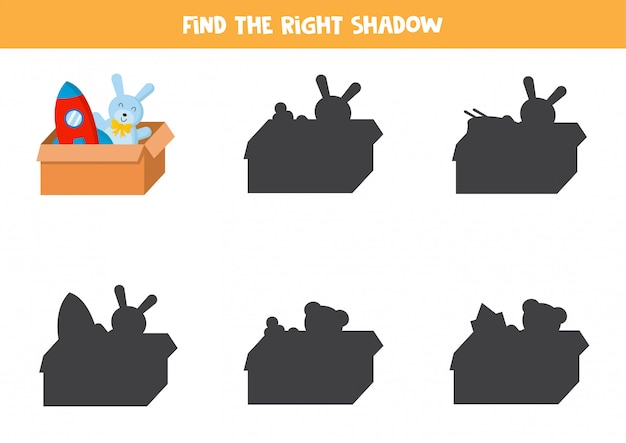 Jogo educativo para crianças. encontre a sombra certa da caixa de brinquedos.