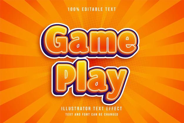 Jogo, efeito de texto editável em 3d estilo efeito cômico gradação amarela laranja
