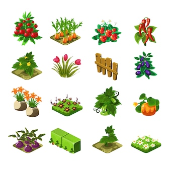 Jogo em flash conjunto de elementos de agricultura