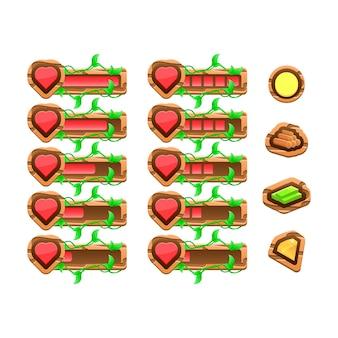 Jogo engraçado natureza de madeira da interface do usuário deixa a barra de painel do modelo de vida do coração para elementos de recursos de interface