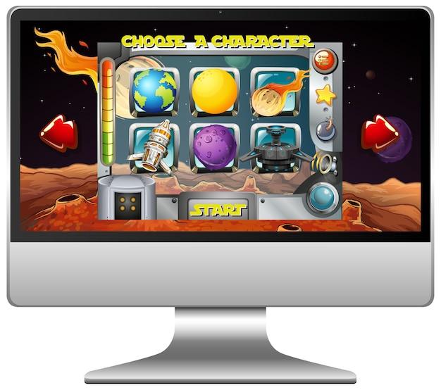 Jogo espacial na tela do computador