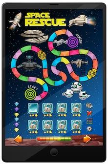 Jogo espacial na tela do tablet
