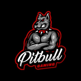 Jogo esport do logotipo do mascote pitbull