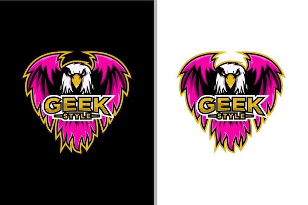 Jogo esportivo de logotipo de águia estilo geek
