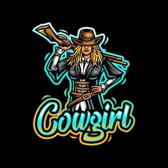 Jogo esportivo do logotipo da mascote cowgirl