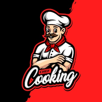 Jogo esportivo do logotipo do chef mascote
