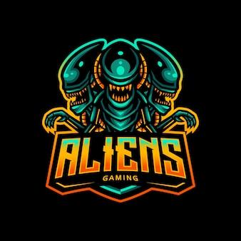 Jogo esportivo do logotipo do mascote alienígena