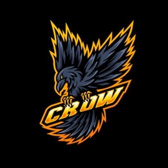 Jogo esportivo do logotipo do mascote crow