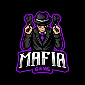 Jogo esportivo do logotipo do mascote da máfia
