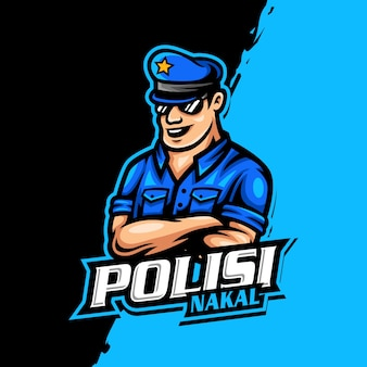 Jogo esportivo do logotipo do mascote da polícia