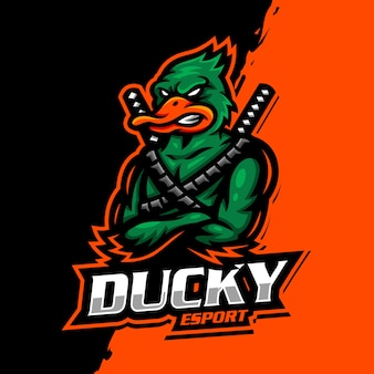 Jogo esportivo do logotipo do mascote duck