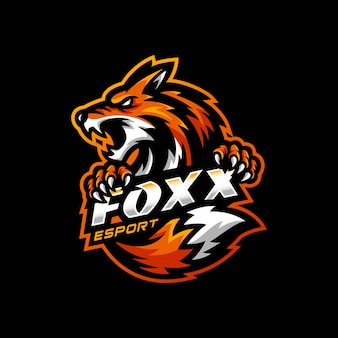 Jogo esportivo do logotipo do mascote fox